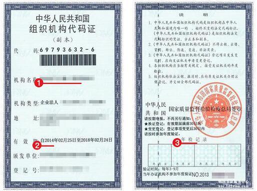 韩国签证组织机构代码复印件模板